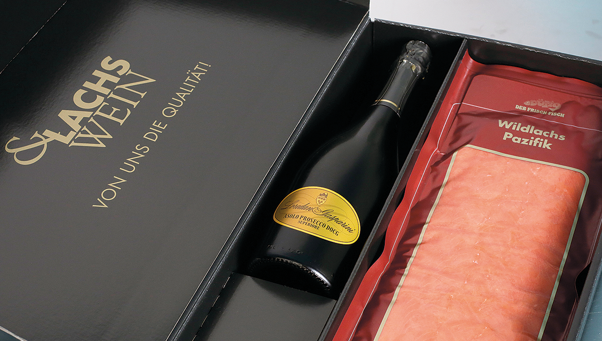 Lachs&Wein Partyseite Geschenkpackung