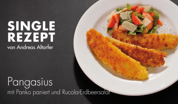 Rezept Pangasius und Rucola-Erdbeer-Salat