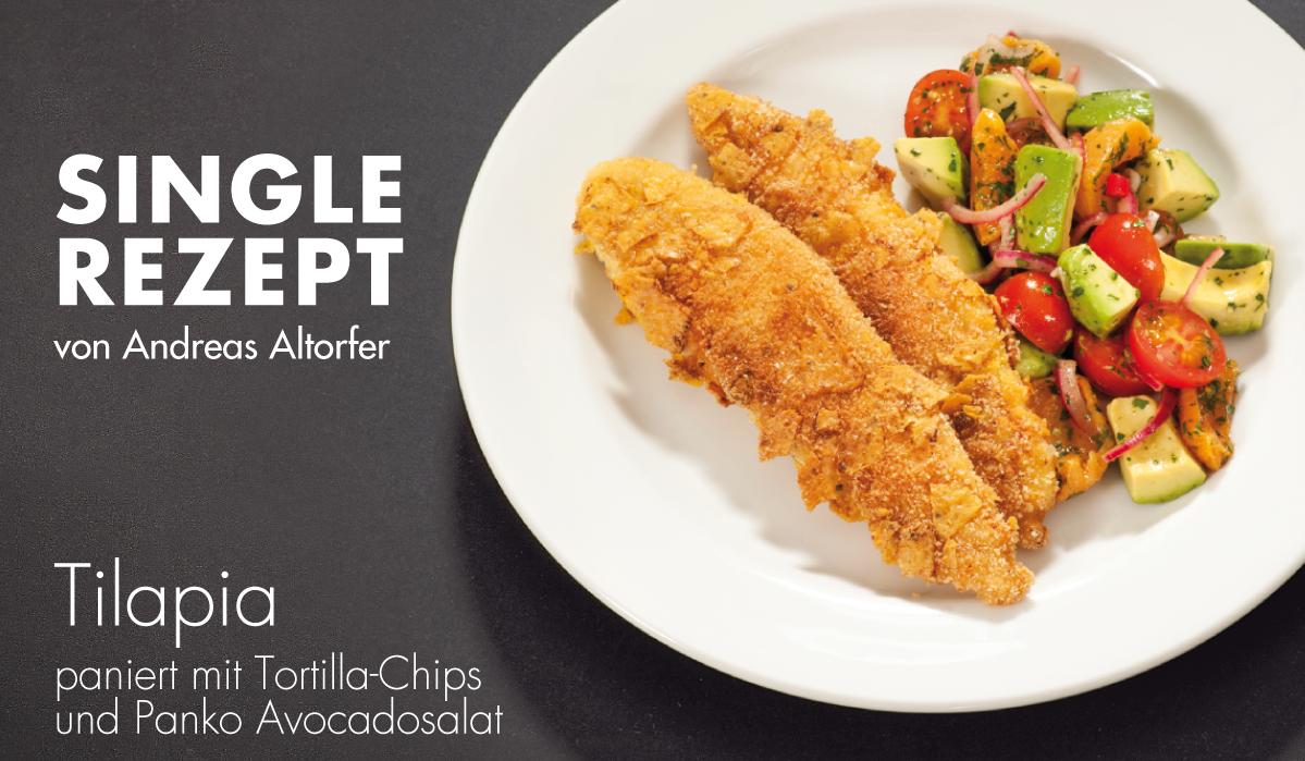 Rezept: Tilapia paniert mit Tortilla-Chips und Panko, Avocadosalat